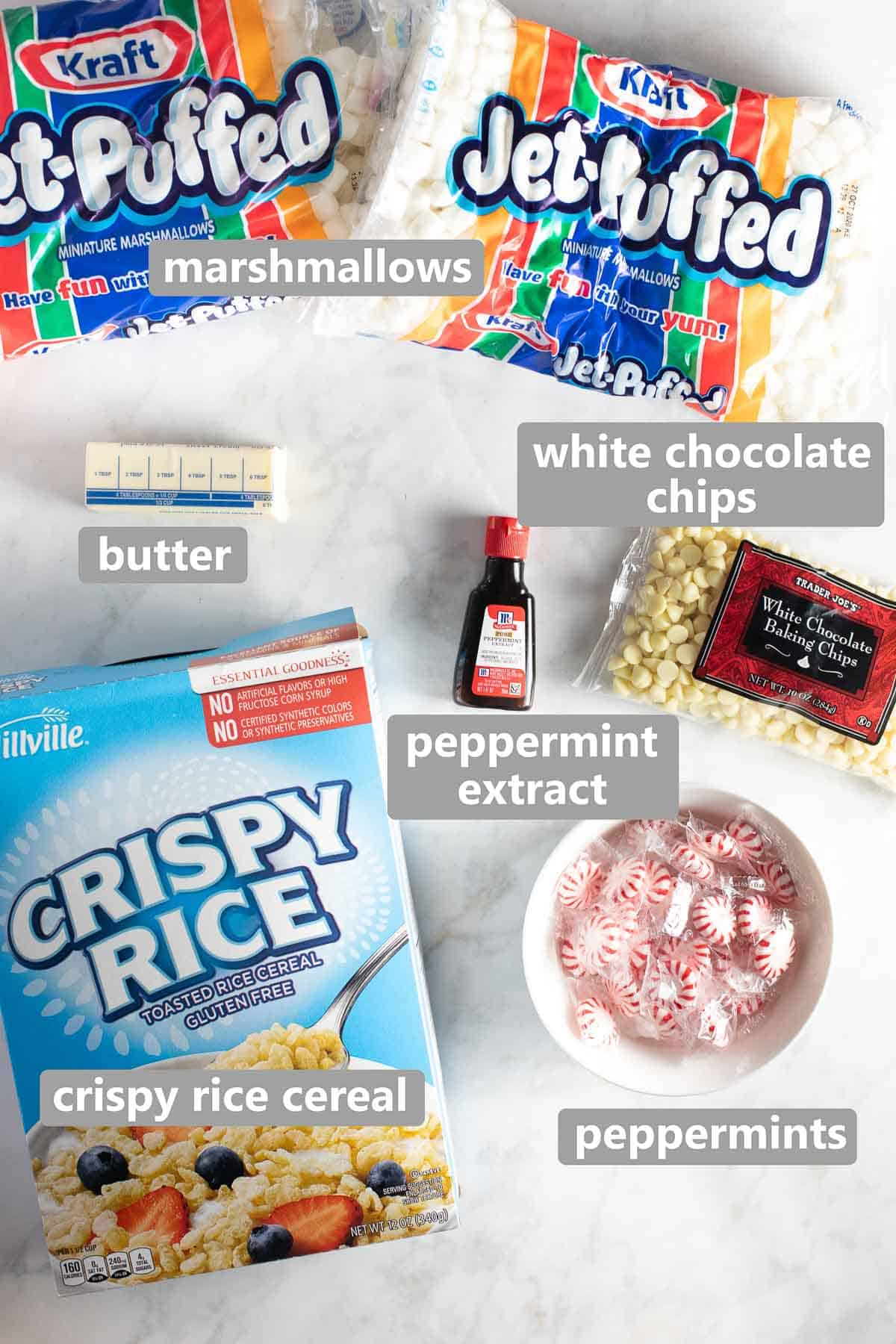 overhead shot of ingredients needed to make christmas rice krispies treats