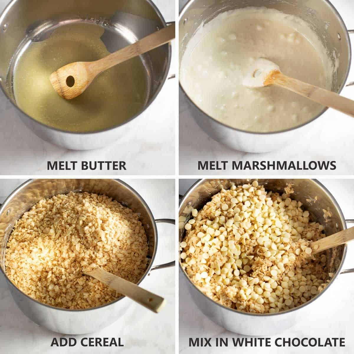 step by step photos of how to mix together the rice krispie treats base