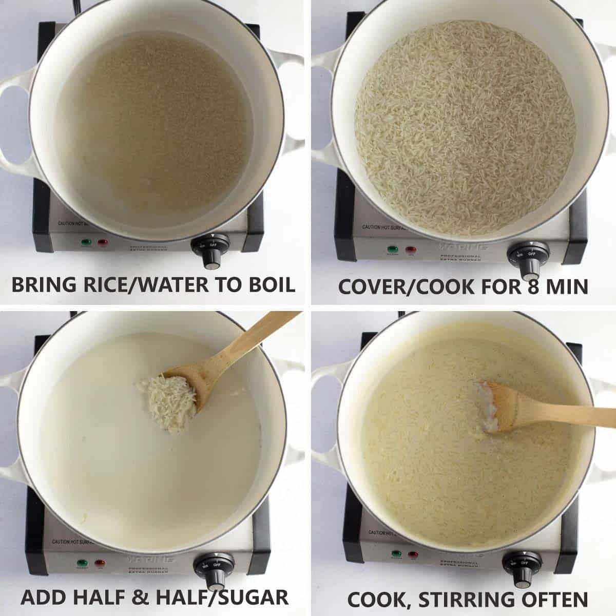 4 photos showing how to start cooking the rice