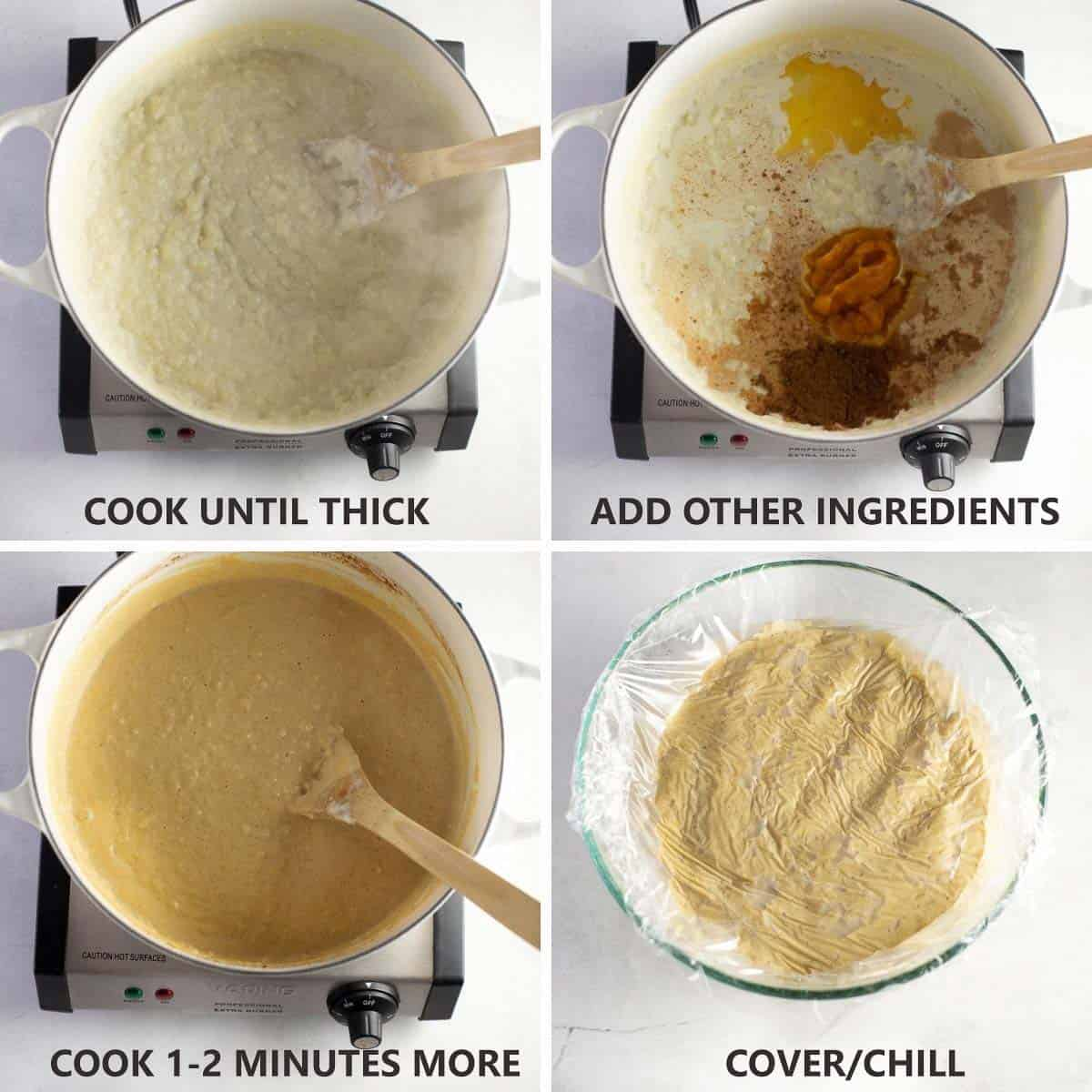 step by step instructions of how to finish cooking rice pudding and chill it