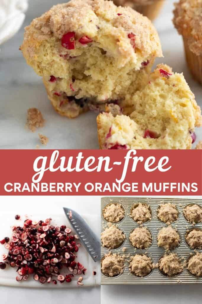 image for pinterest of gluten free cranberry orange muffin with steps of how to make them