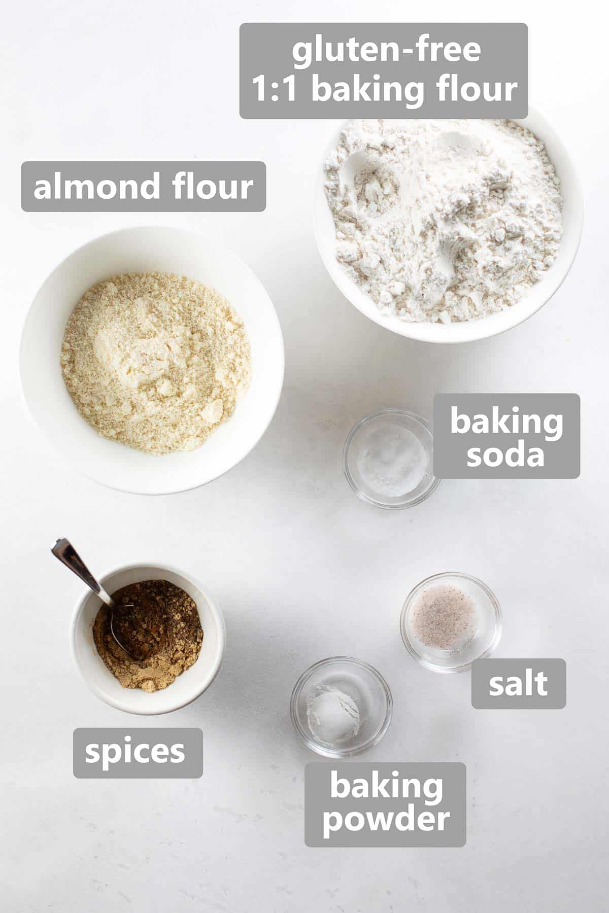 overhead shot of dry ingredients used to make gingerbread cake
