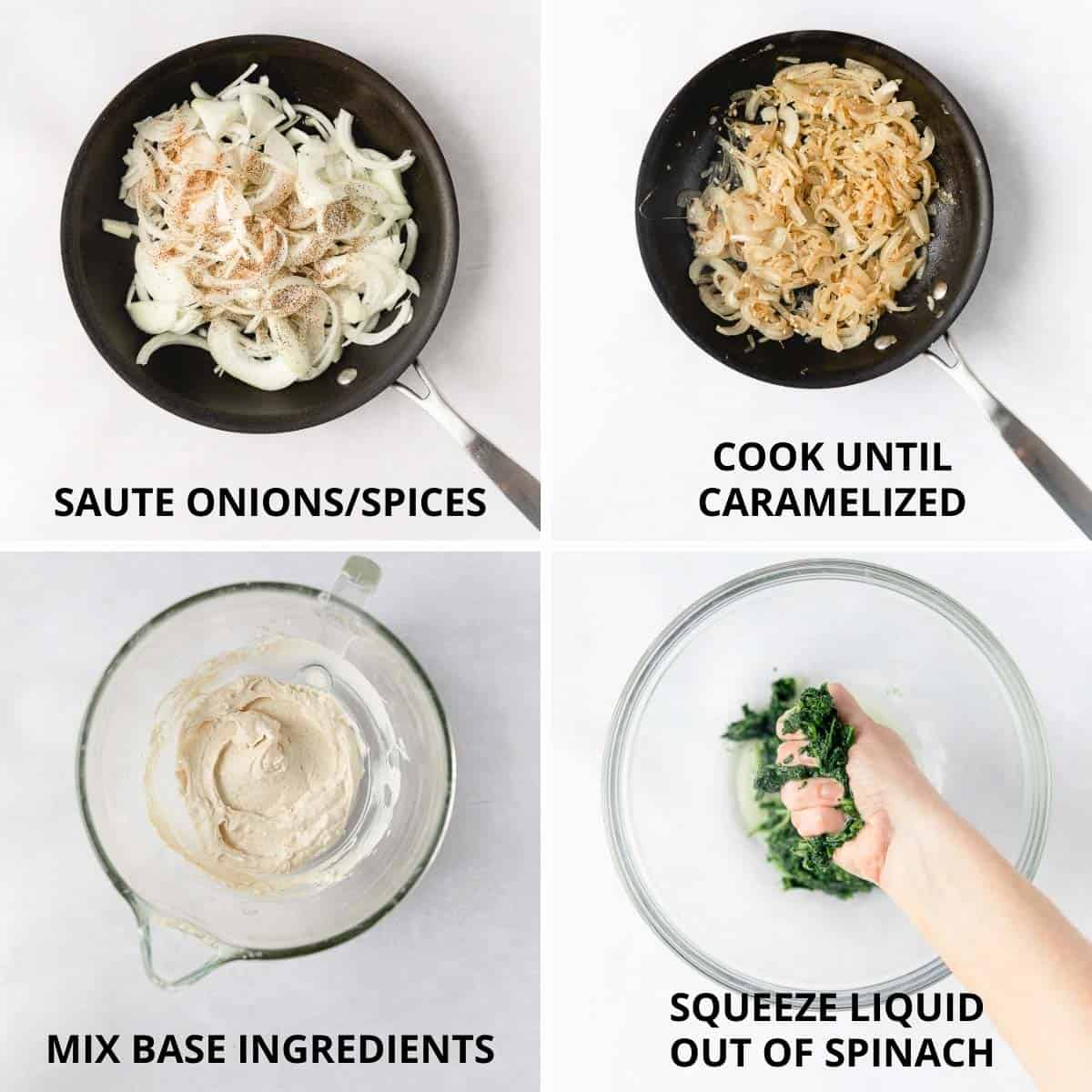 step by step photos of how to mix together the dip
