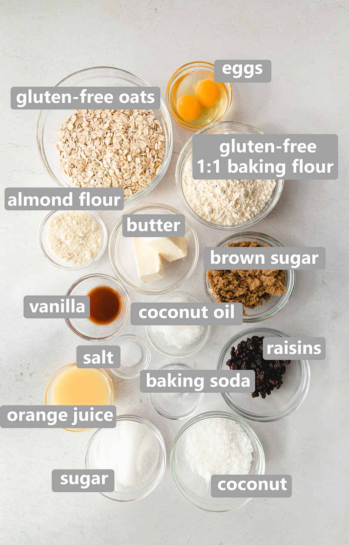 collage of ingredients needed to make gluten free oatmeal cookies