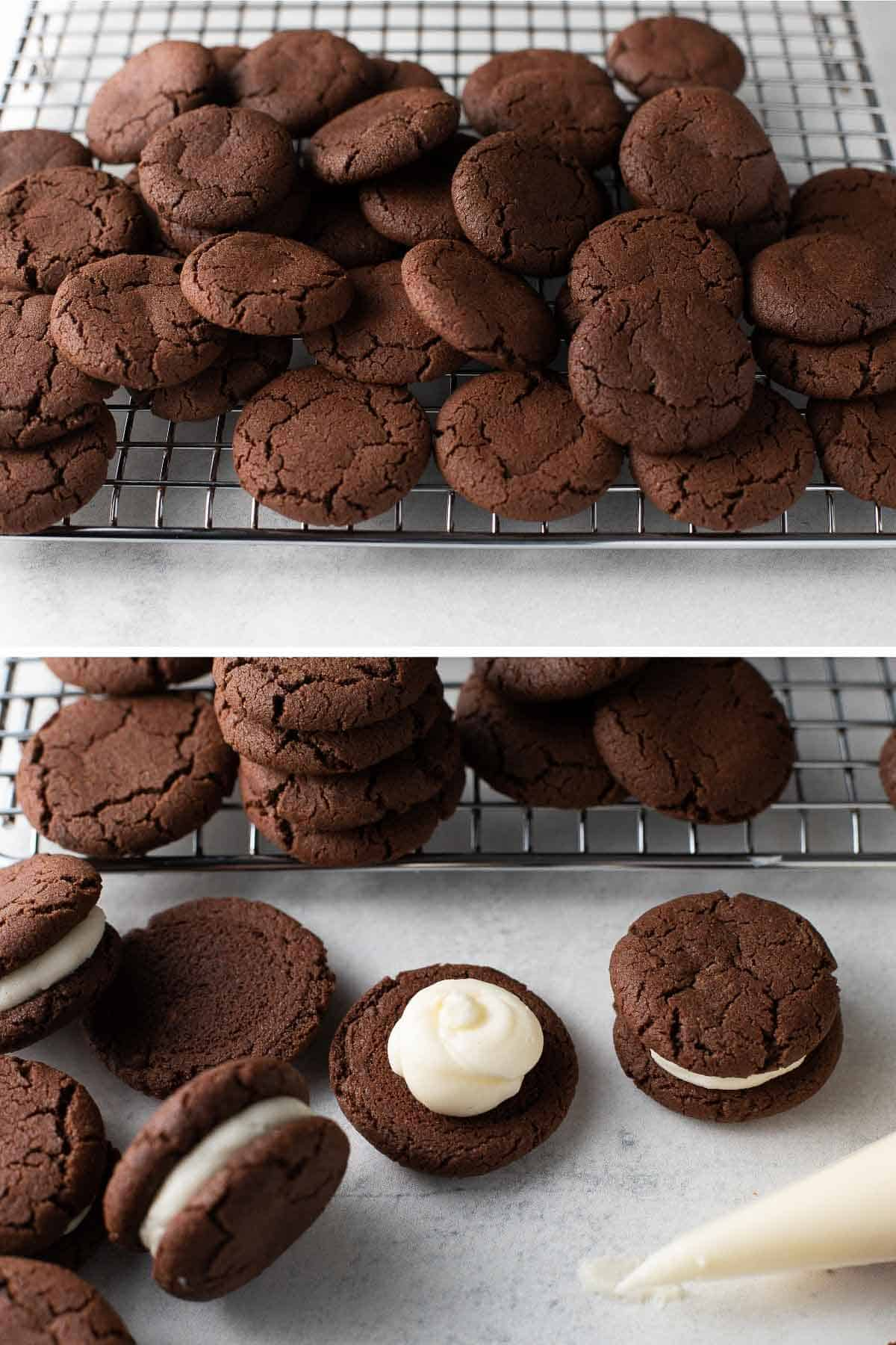 chocolate cookies on cooling rack and being filled with cream filling