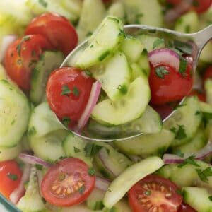 silver spoon scooping cucumber tomato salad