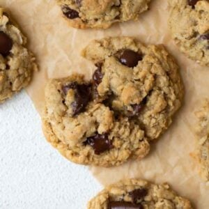 close up shot of gluten free oatmeal chocolate chip cookie broken in half