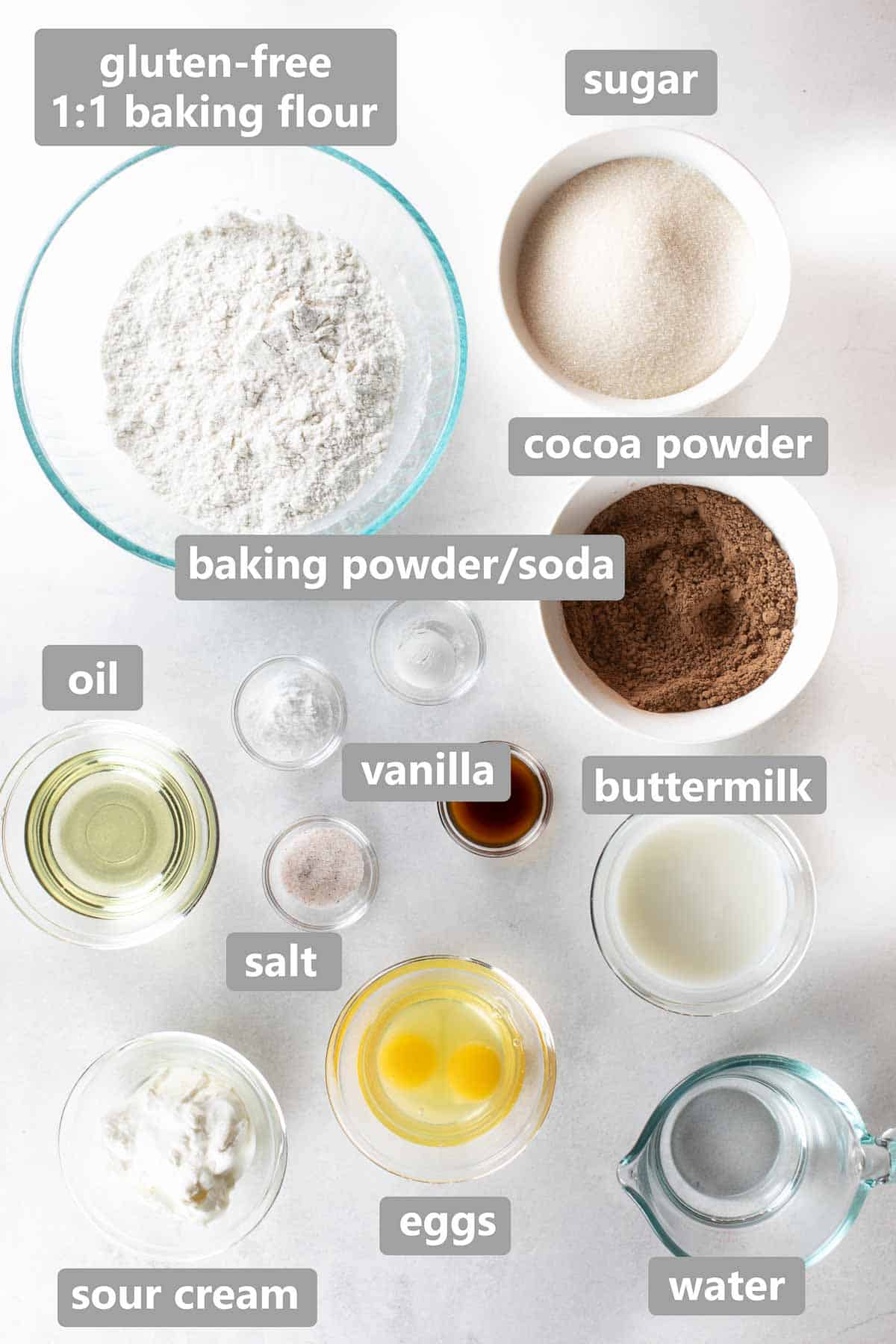overhead shot of ingredients used to make chocolate cake