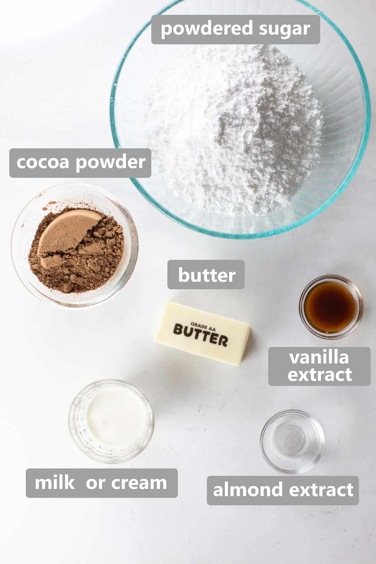 overhead shot of ingredients used to make chocolate frosting