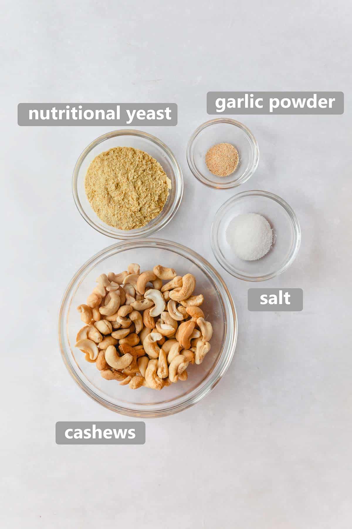 ingredients to make dairy-free parmesan cheese