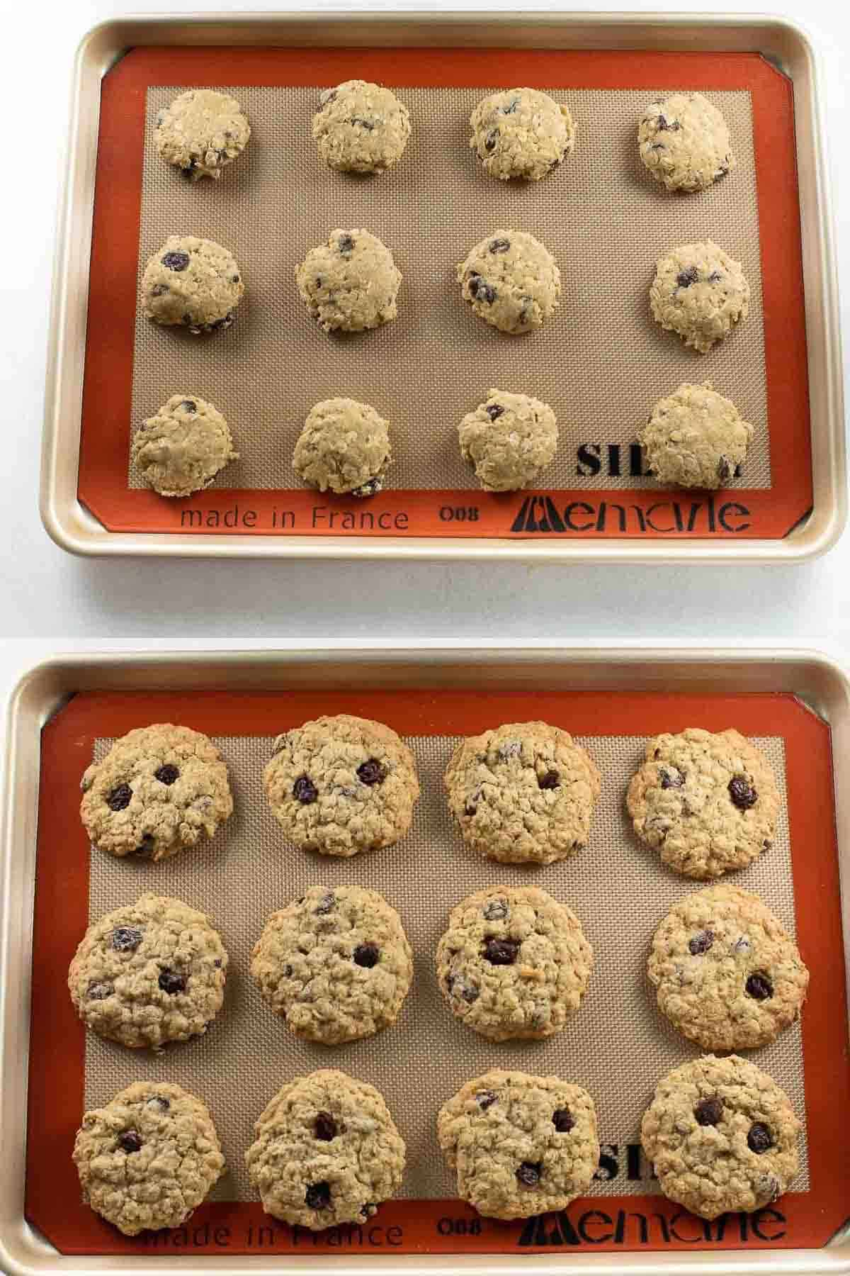cookie dough scooped onto baking sheet then tray of baked cookies