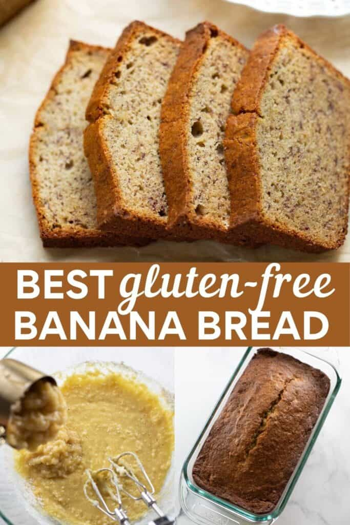 image for pinterest with collage images of banana bread
