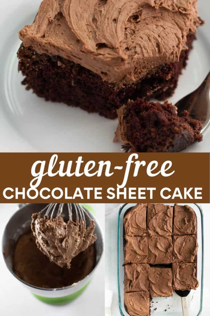 image for pinterest of how to make gluten free chocolate cake