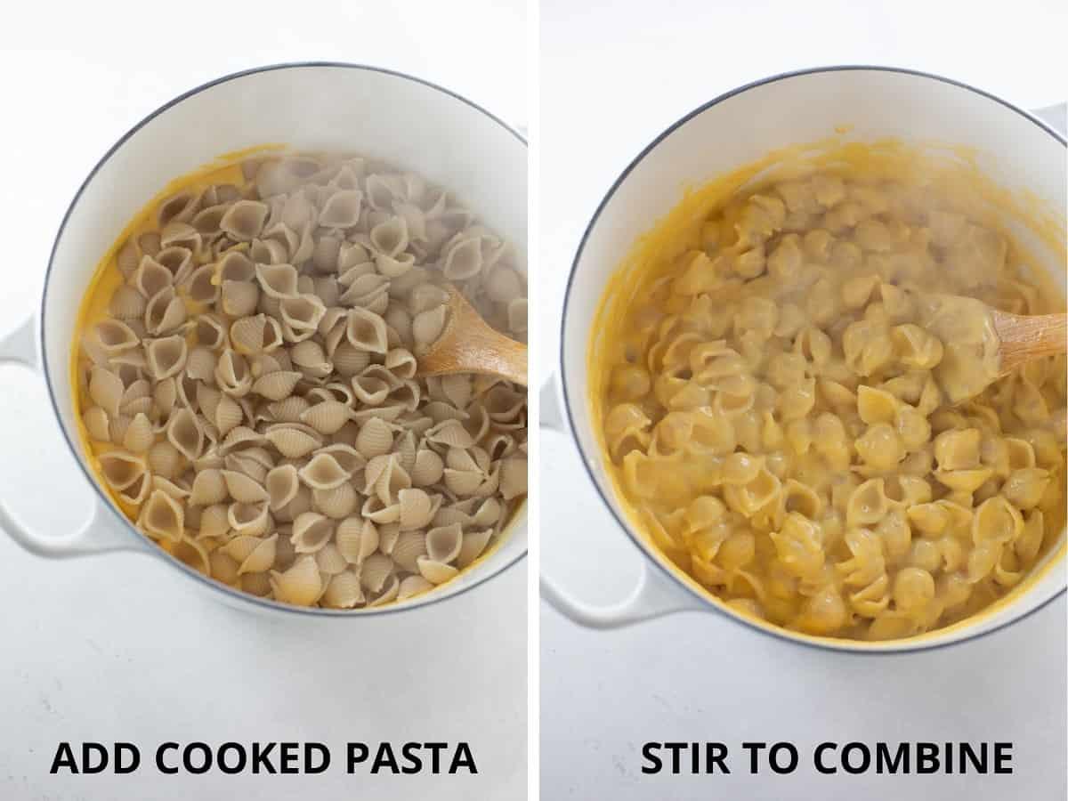 adding cooked macaroni to cheese sauce