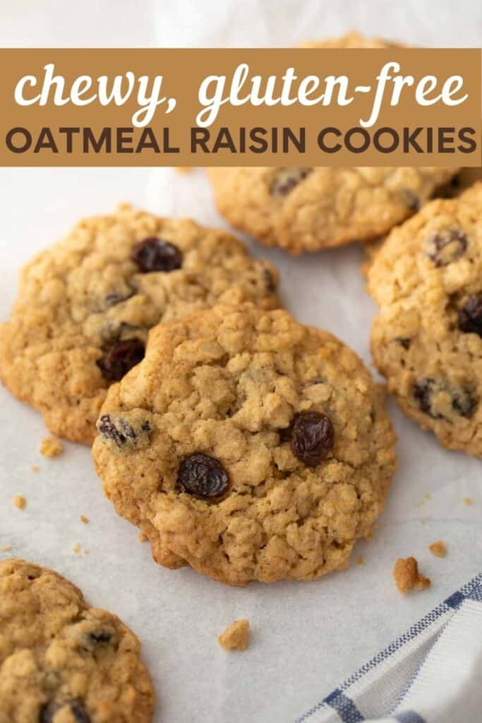image for pinterest of oatmeal cookie on white background
