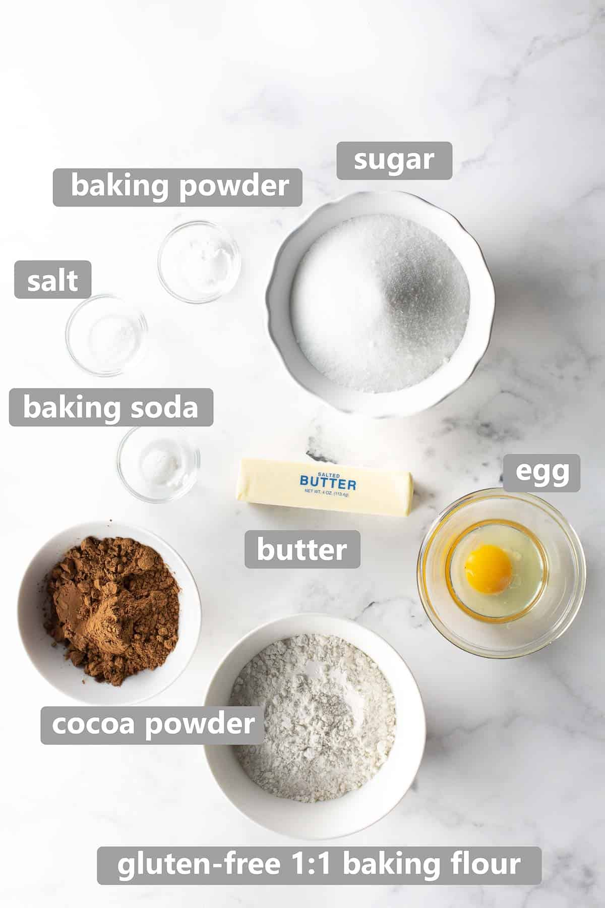 overhead shot of ingredients used to make gluten free oreo cookies