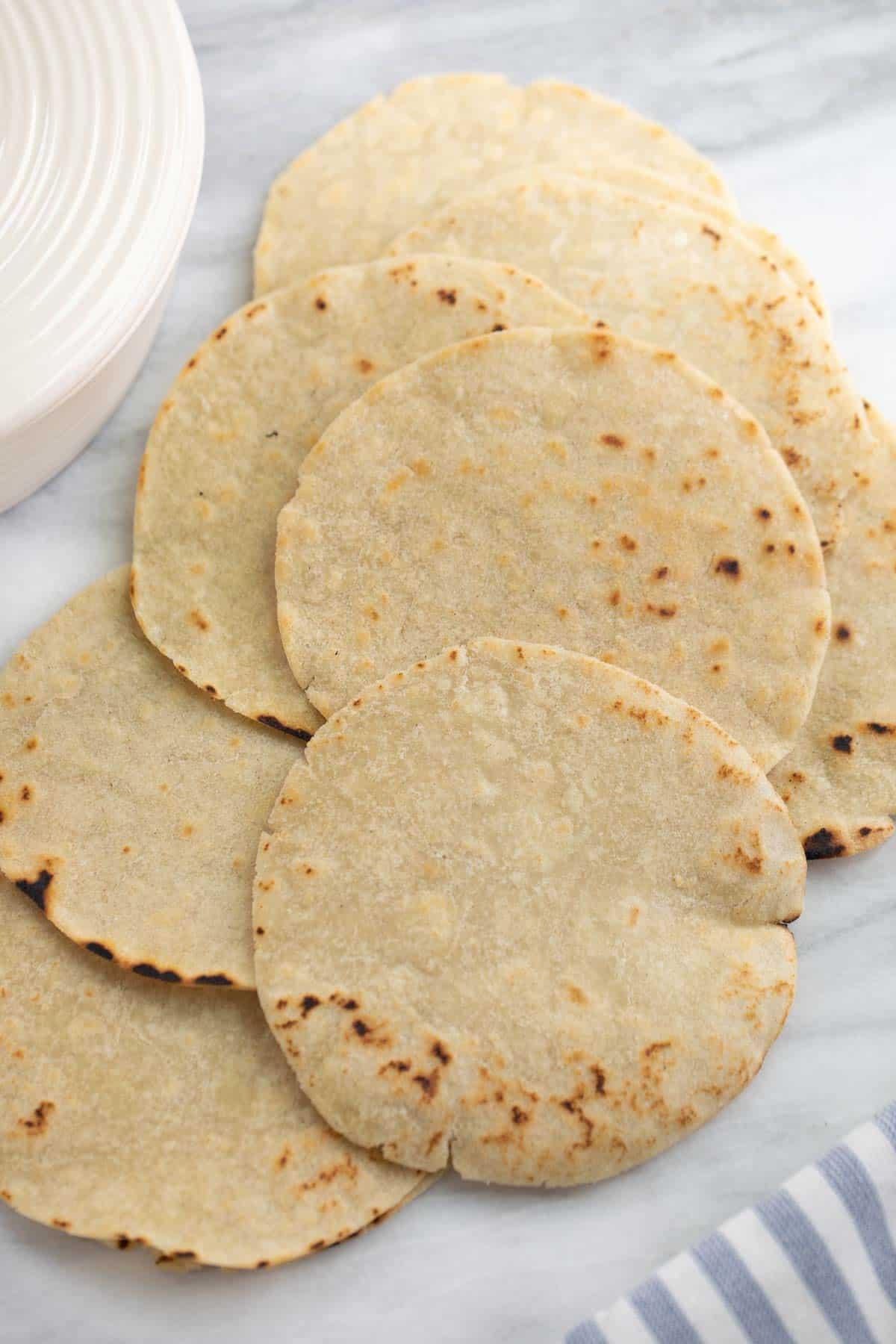 gluten free tortillas on marble background