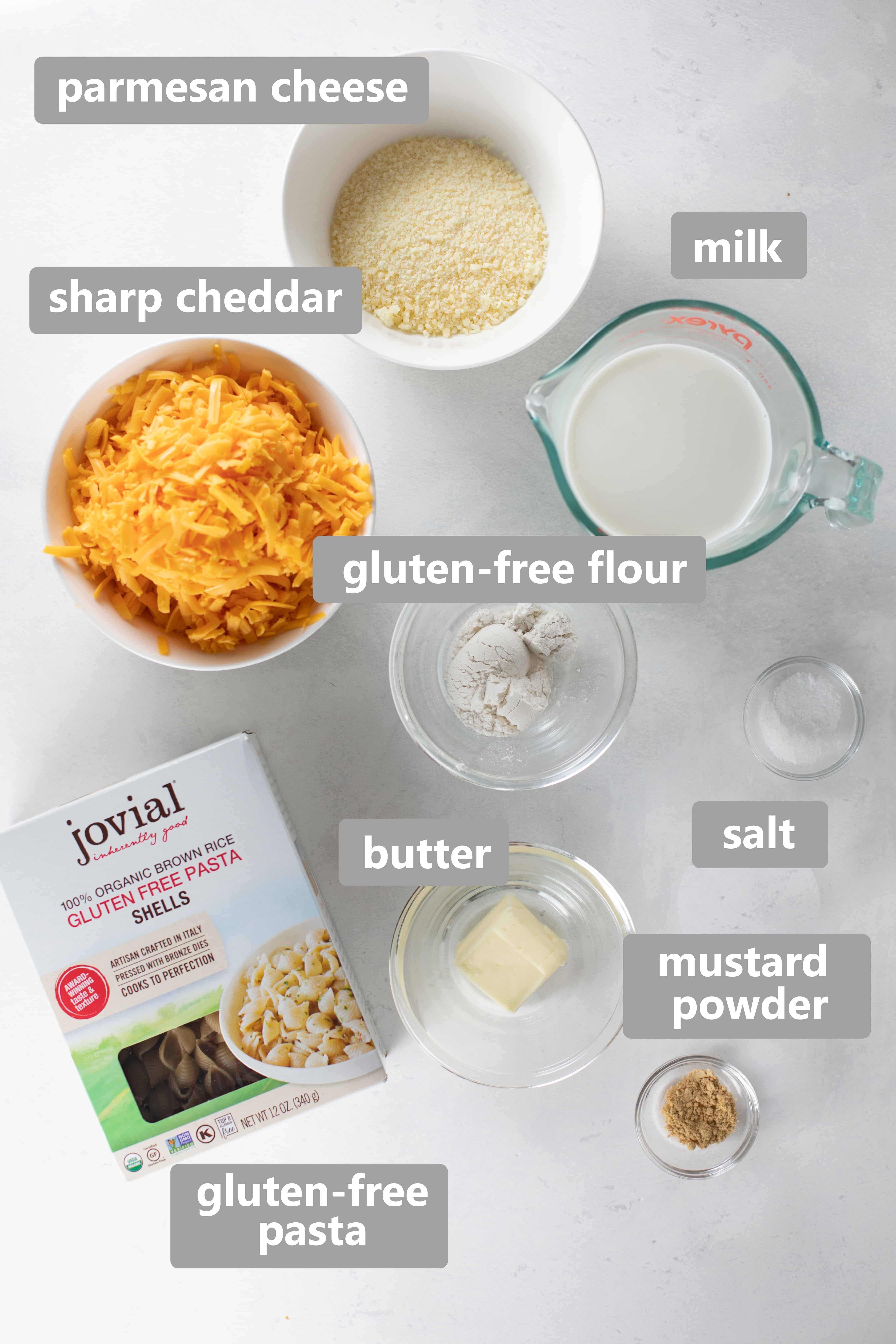 overhead shot of ingredients to make mac and cheese