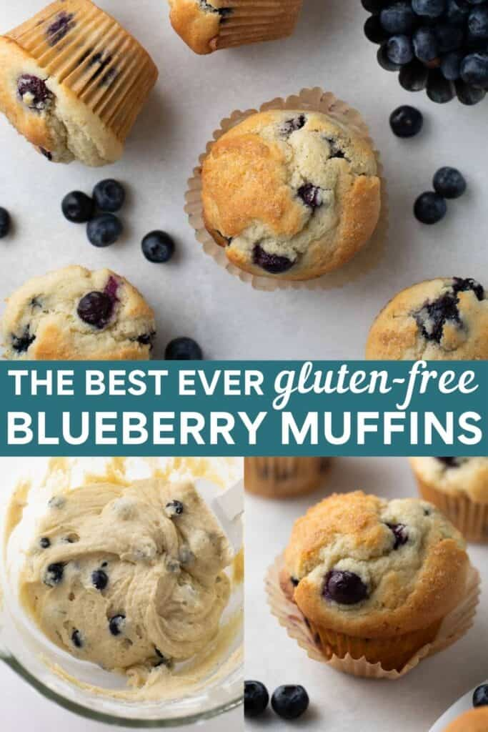 image for pinterest of how to make gluten-free blueberry muffins