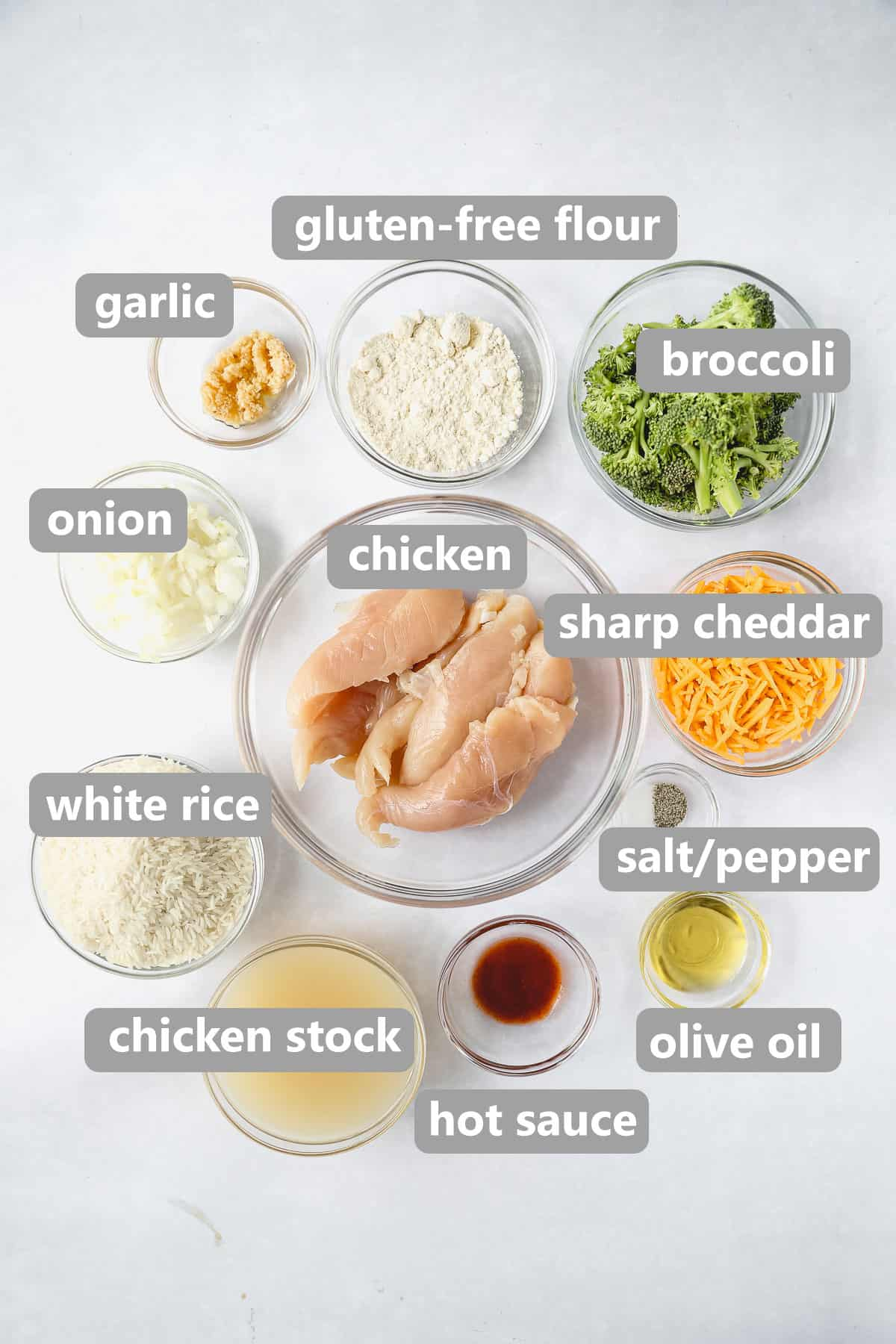 ingredients to make the gluten free chicken and rice labeled in collage