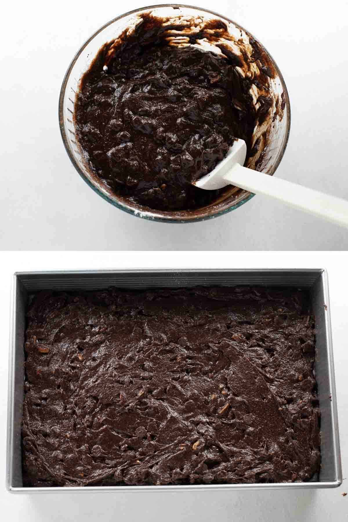 brownie batter in mixing bowl and spread into metal baking dish