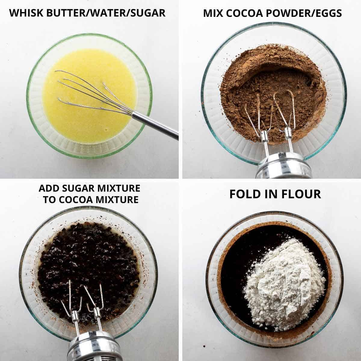 step by step photos of how to mix together gluten free brownie batter