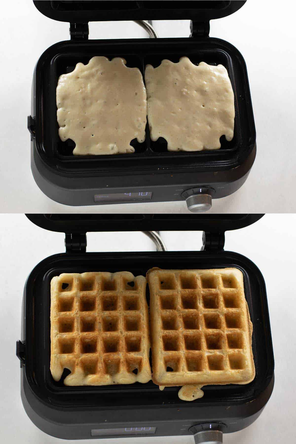 waffles cooking in black waffle iron