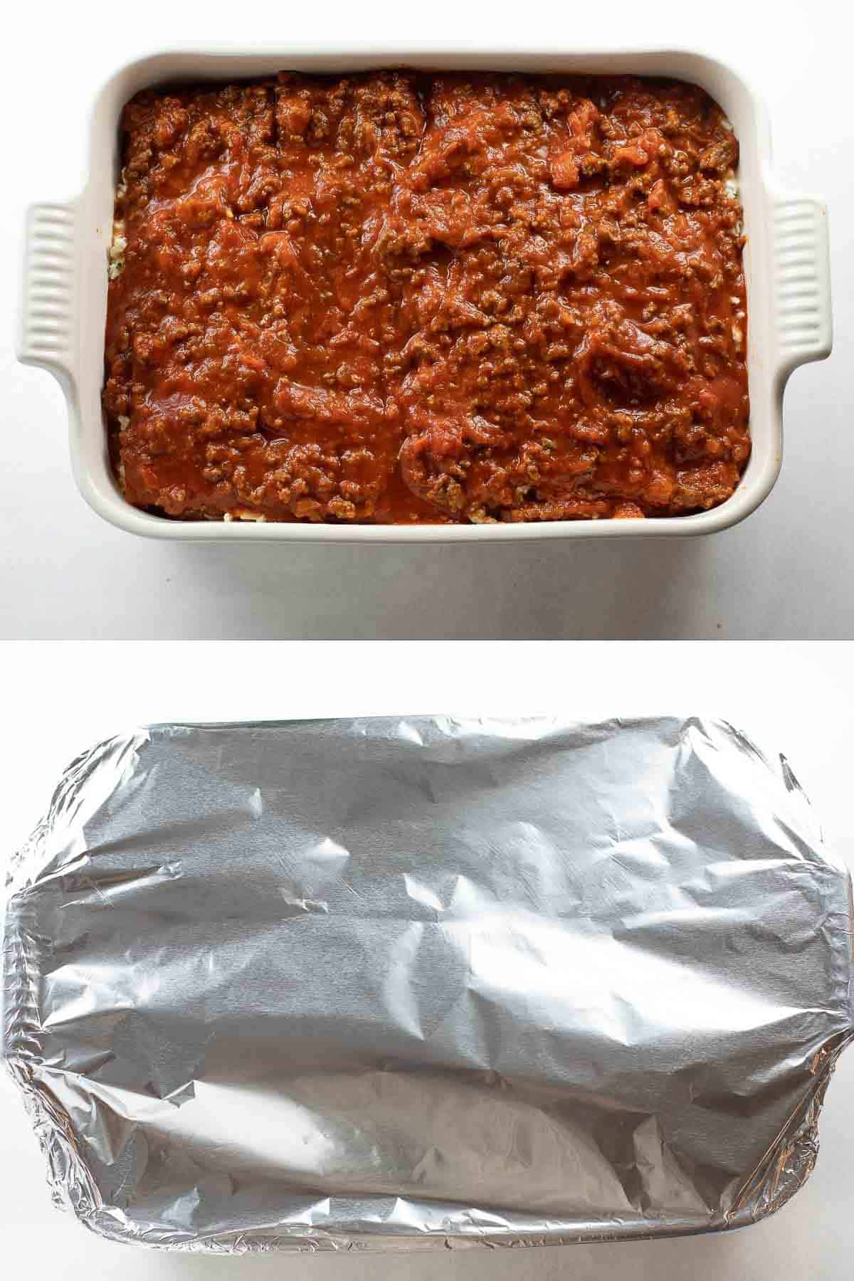 gluten free lasagna prior to baking and dish wrapped in foil before baking