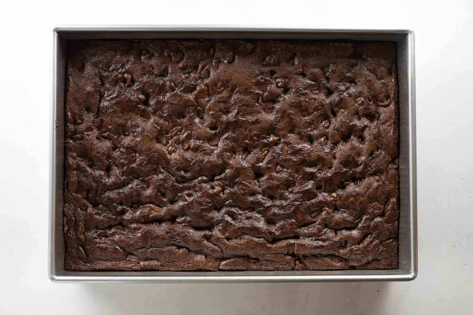 baked brownies cooling in pan