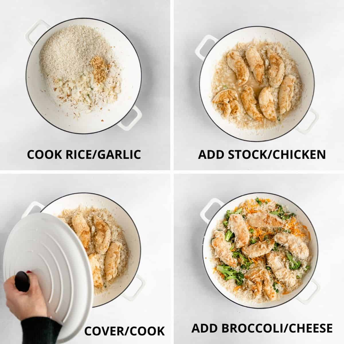 step by step photos of how to make the chicken and rice