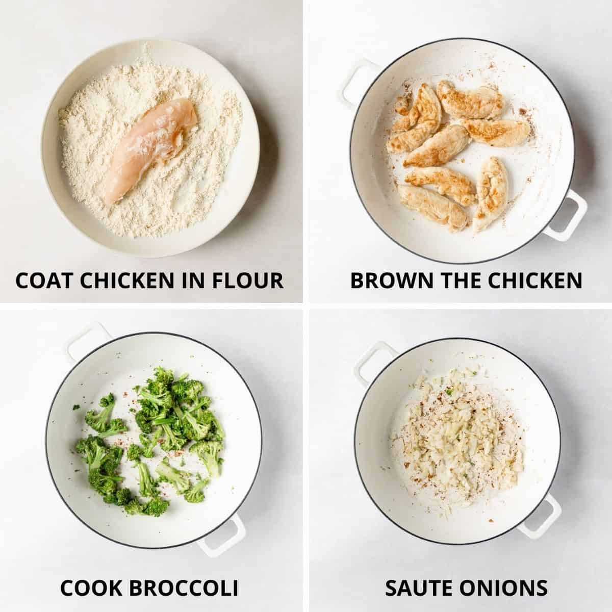 how to dredge and brown the chicken and cook the vegetables