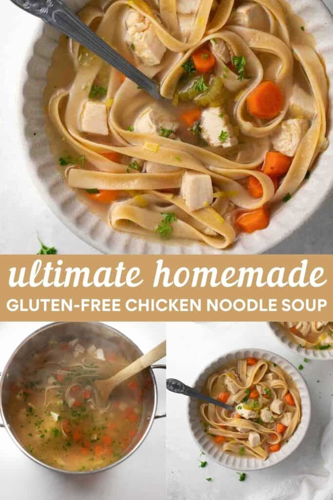 collage for pinterest of how to make chicken noodle soup
