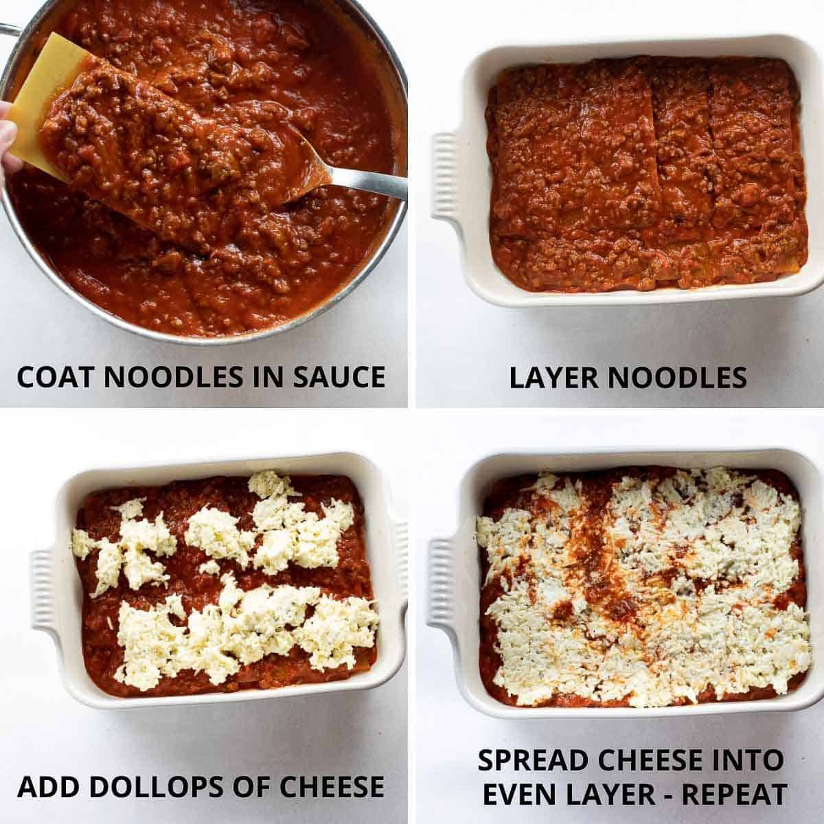 steps for how to assemble the gluten free lasagna
