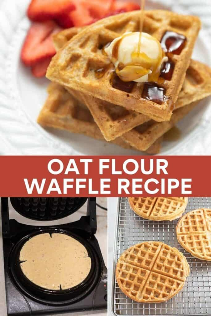 image for pinterest of oat flour waffles