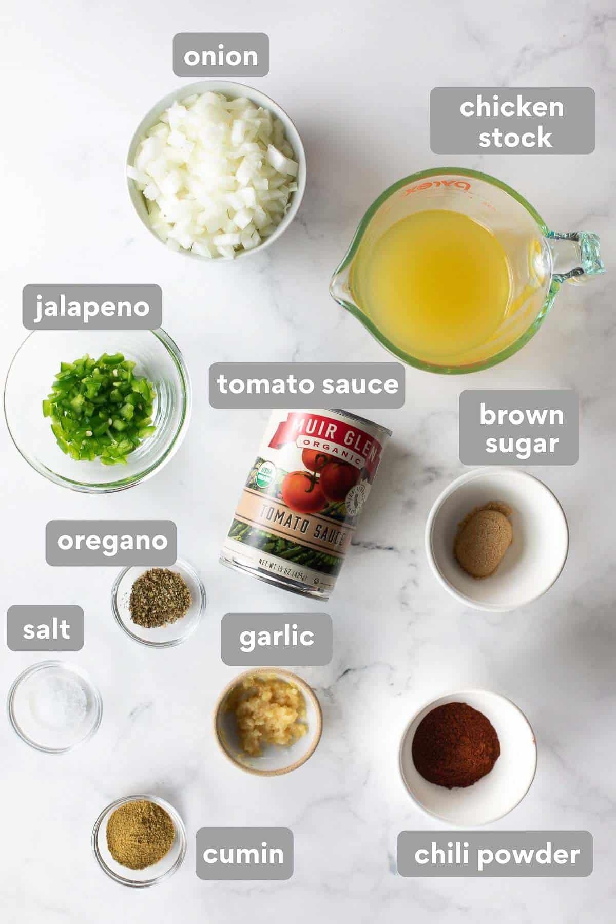 overhead shot of ingredients needed to make enchilada sauce