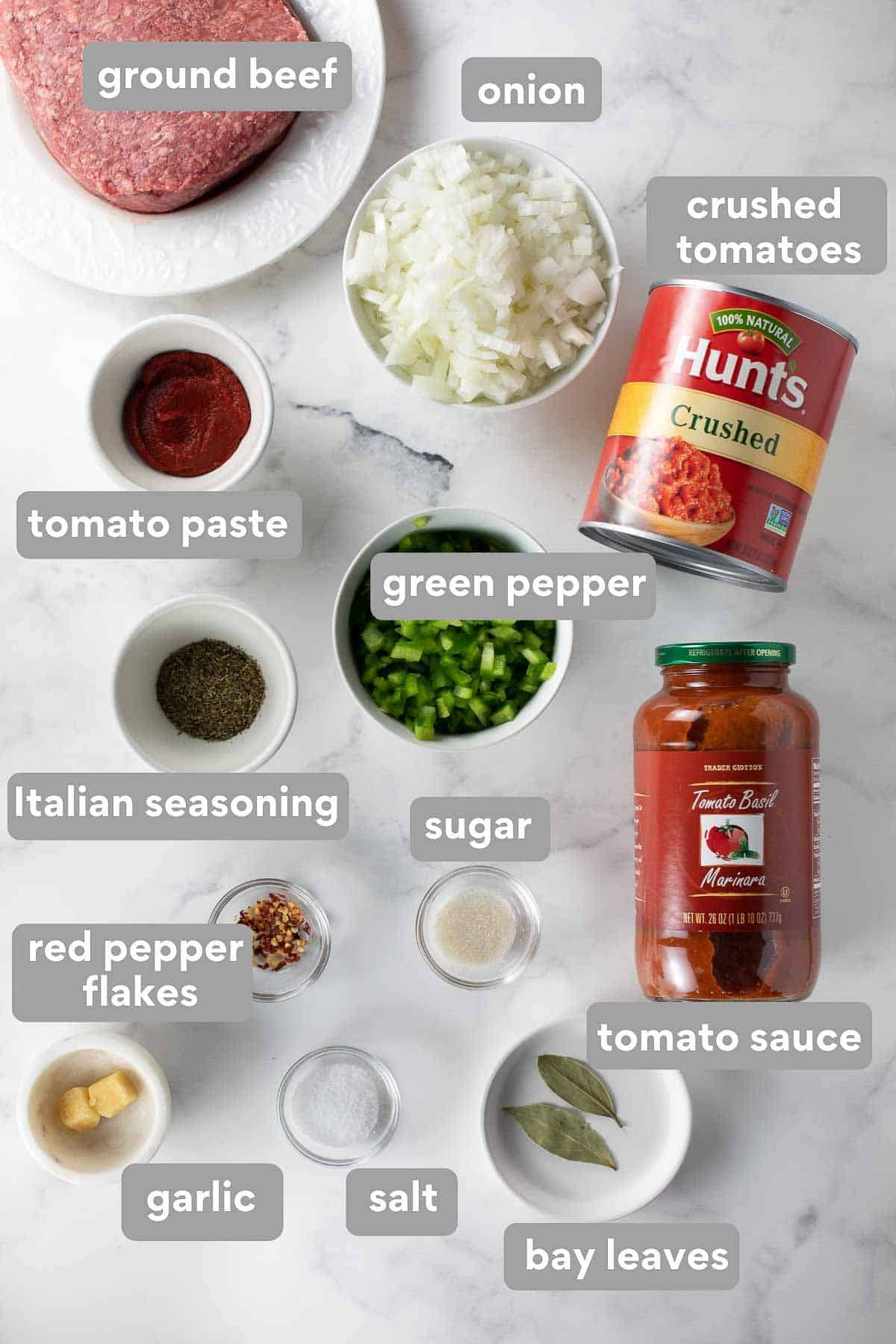 overhead shot of ingredients to make gluten-free spaghetti sauce