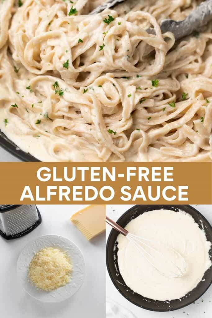 collage image for pinterest of how to make gluten-free alfredo sauce