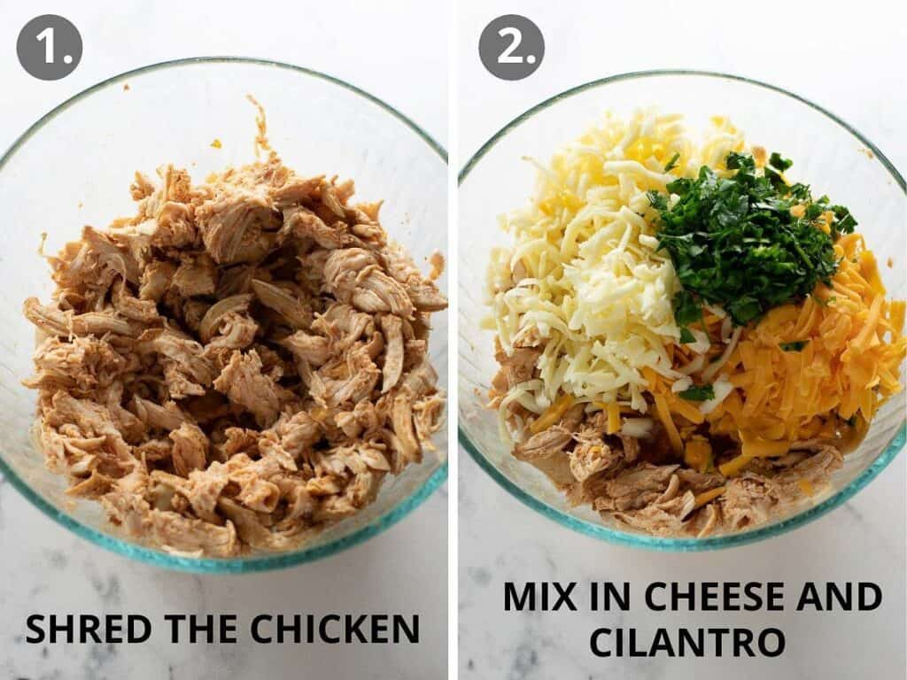 shredded chicken mixture in glass bowl with cheese and cilantro