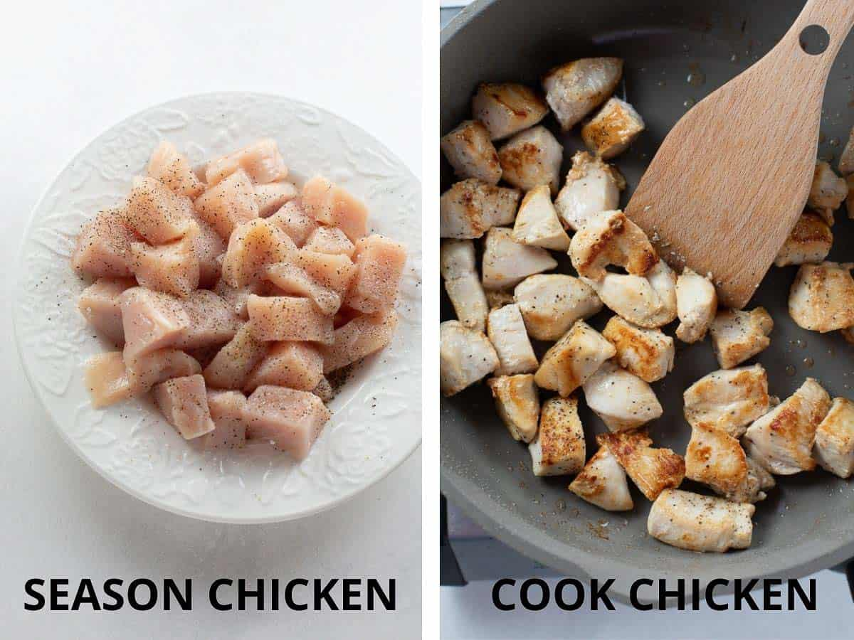 season and cook chicken for stir fry