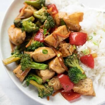 gluten free stir fry on plate with white rice