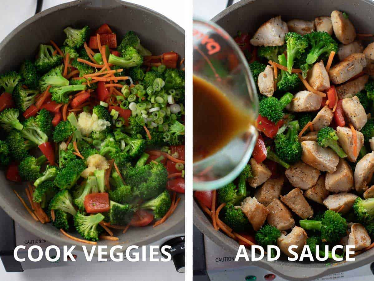 adding vegetables and sauce to pan while cooking stir fry