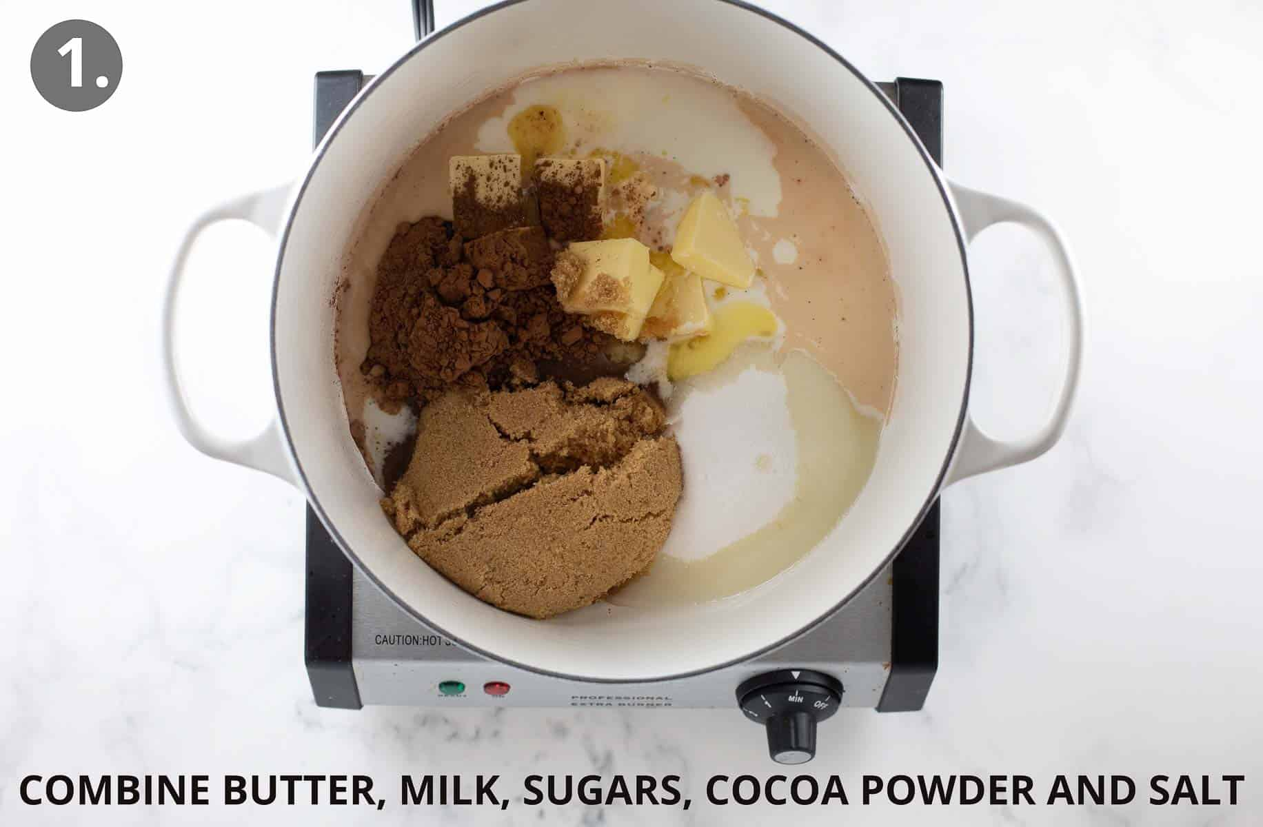 ingredients to make no bake cookies combined in white pot