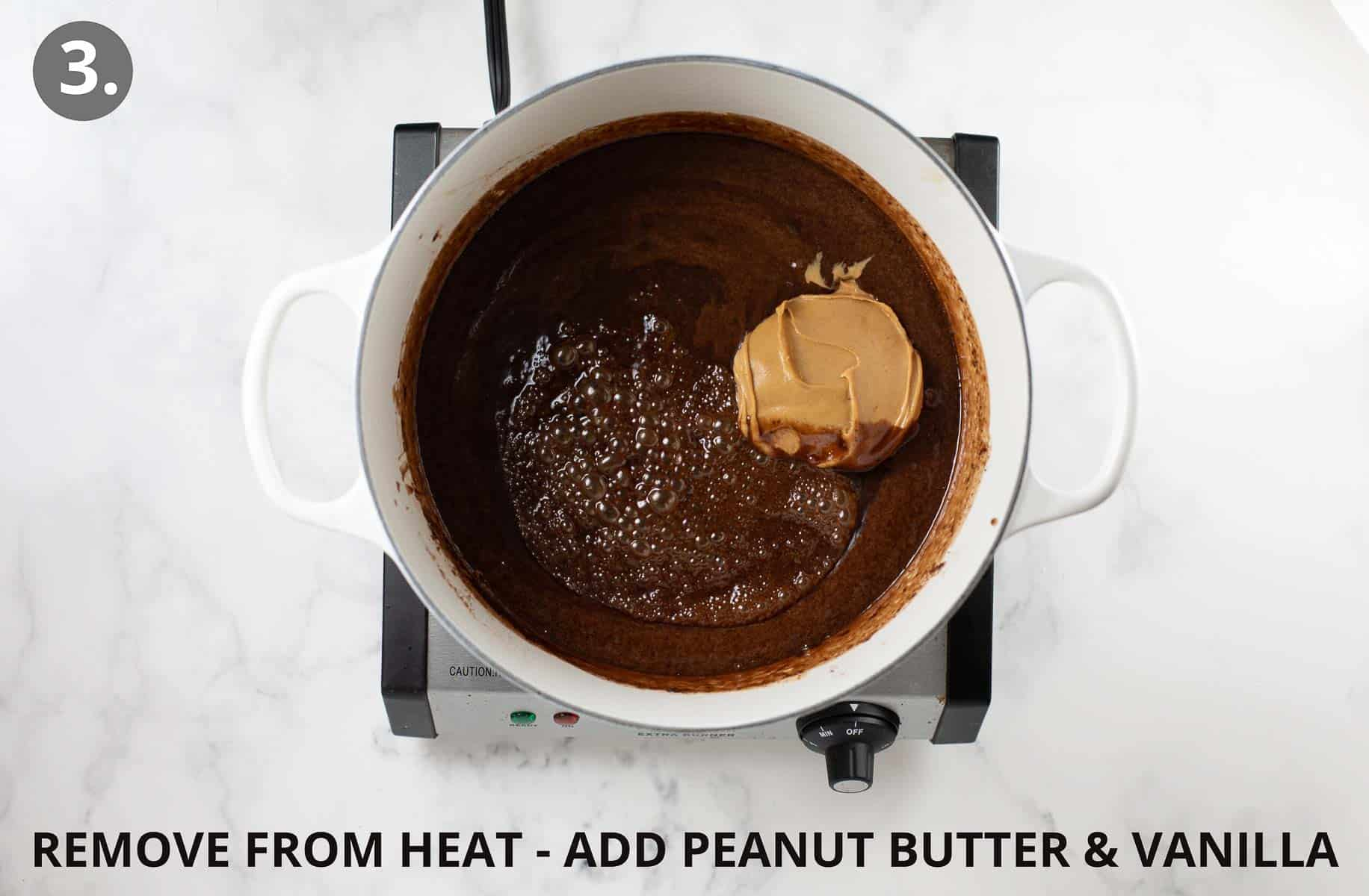 adding peanut butter and vanilla to chocolate mixture
