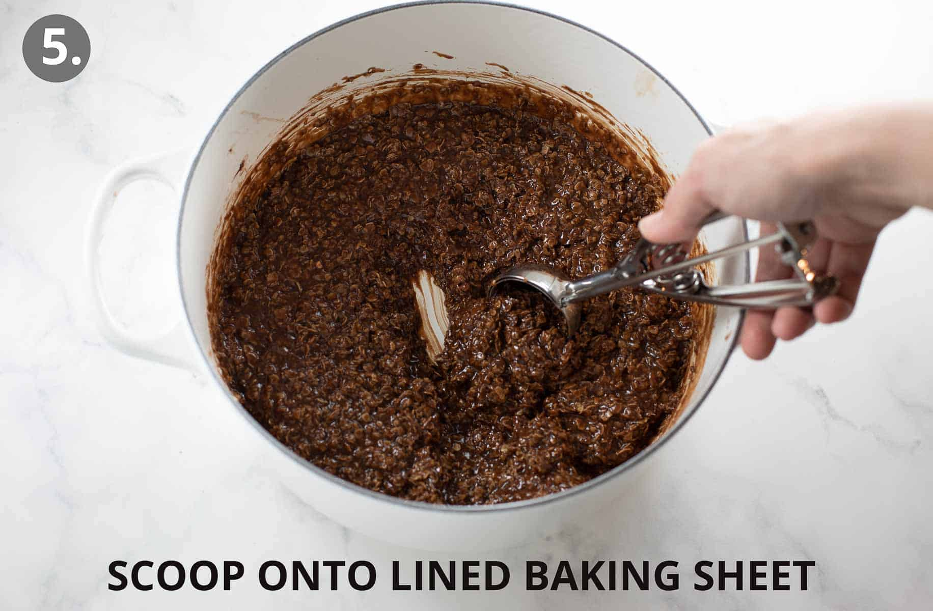 gluten free no bake cookies being scooped out of pot