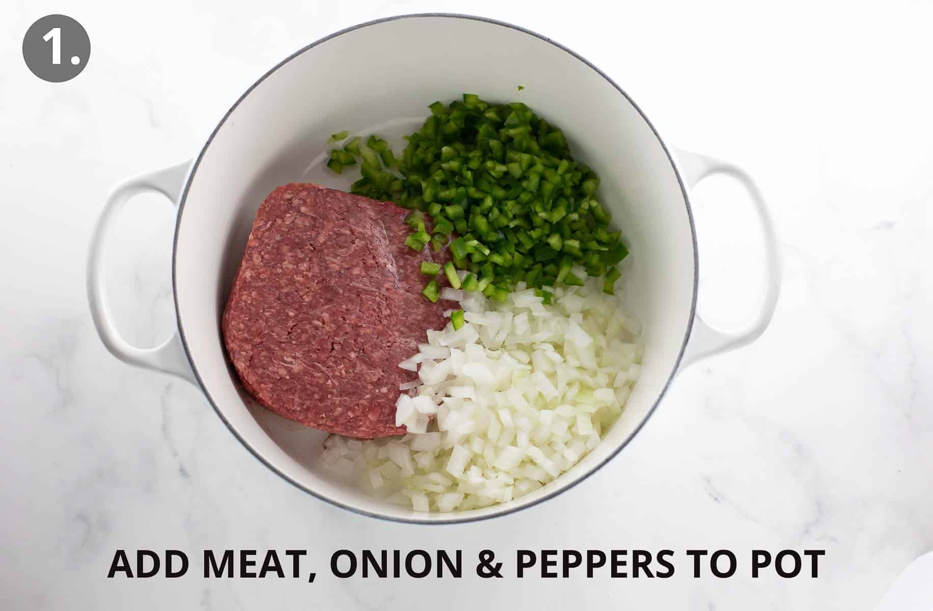 meat, onion and peppers in white pot