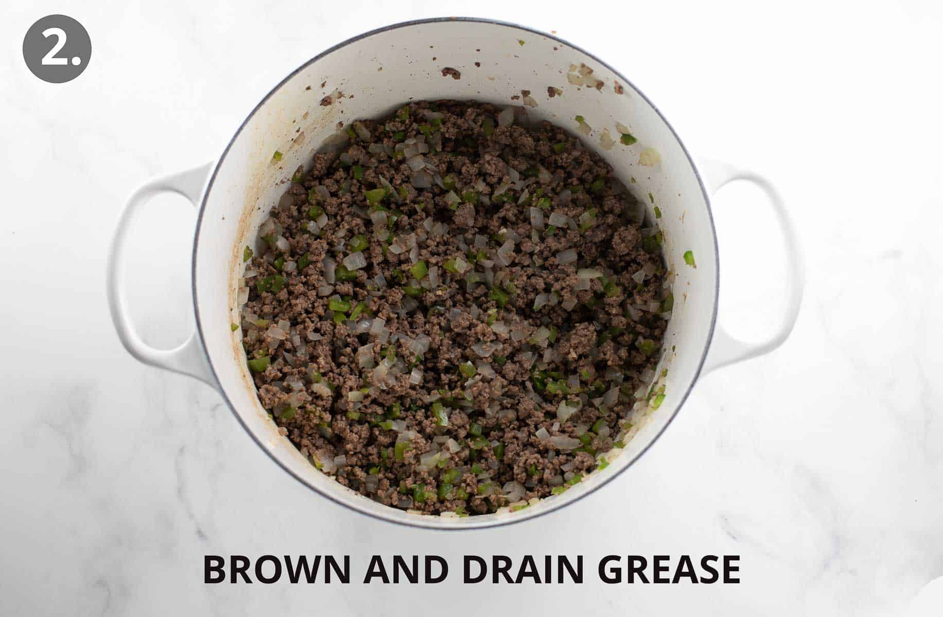 browned meat and peppers with drained grease