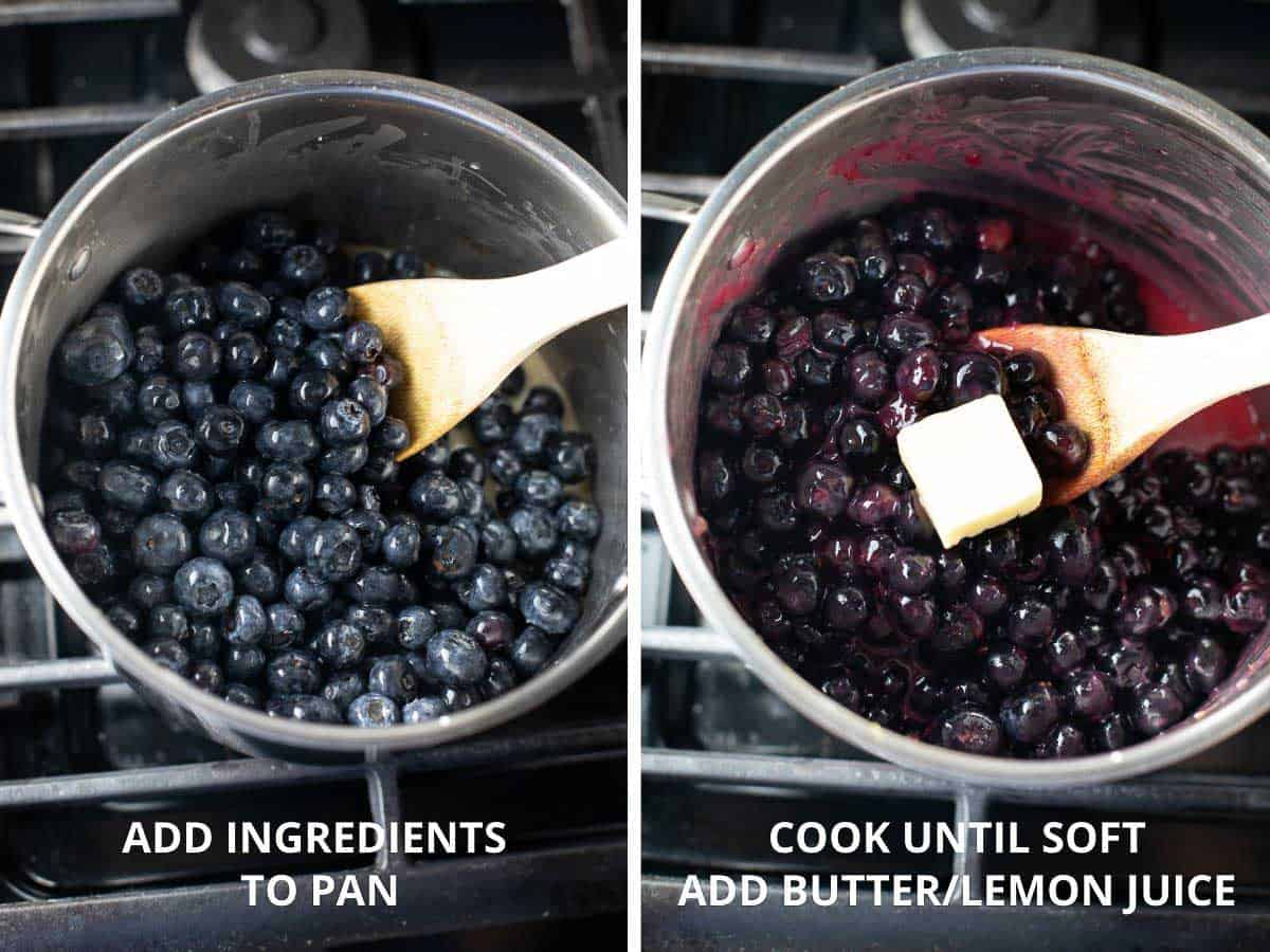 how to make the blueberry filling for the cobbler by cooking blueberries in a pot