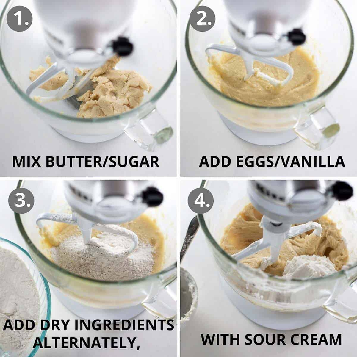 how to mix together the batter for gluten-free coffee cake