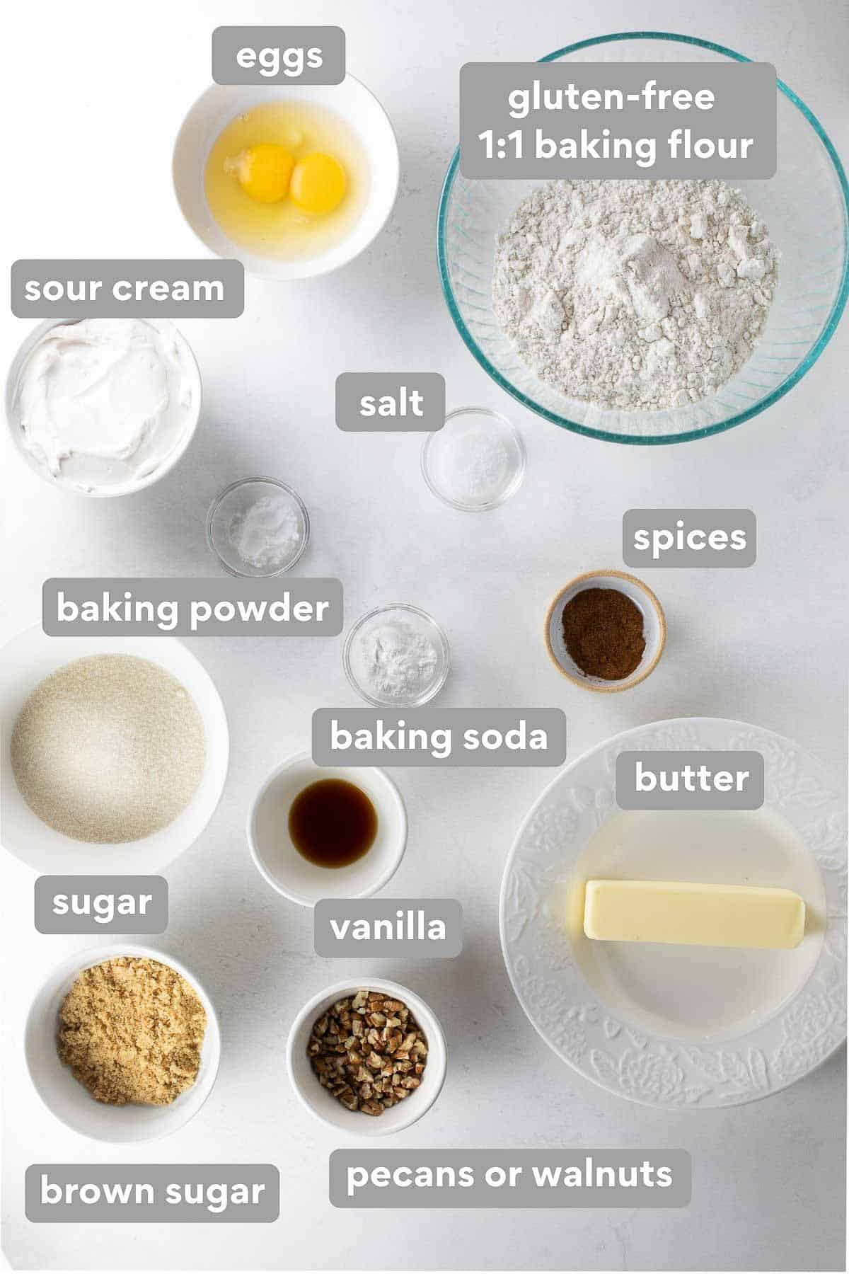 labeled collage of ingredients to make gluten-free coffee cake
