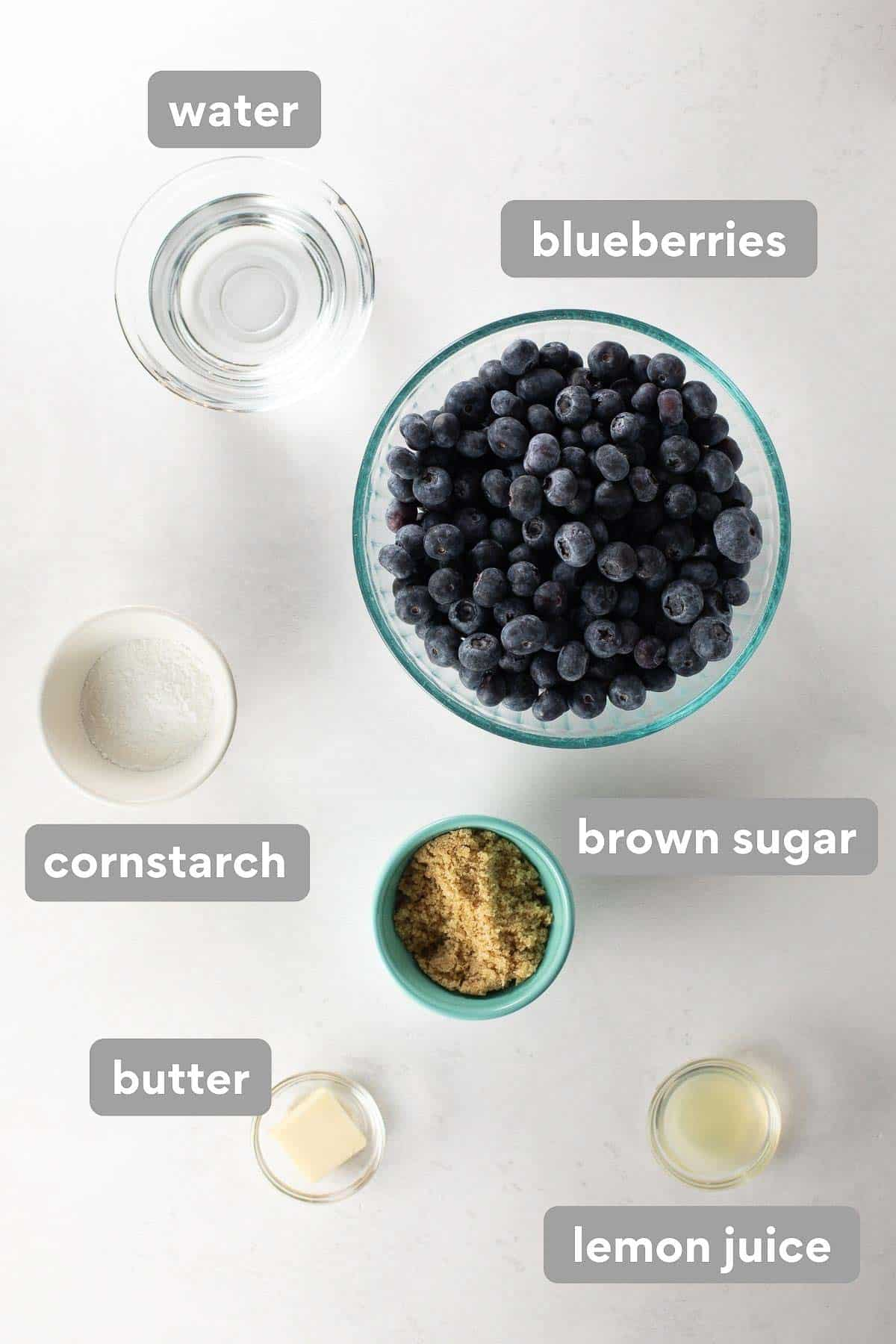 ingredients to make the blueberry cobbler filling in labeled collage